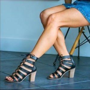 Dayyna Black Steve Madden Lace-up Heeled Sandals